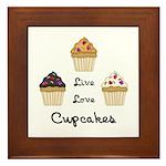 Live Love Cupcakes Framed Tile