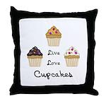 Live Love Cupcakes Throw Pillow