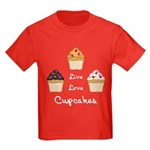 Live Love Cupcakes Kids Dark T-Shirt