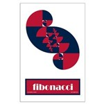Fibonacci Red White Blue II Large Poster