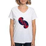 Fibonacci Red White Blue II Women's V-Neck T-Shirt