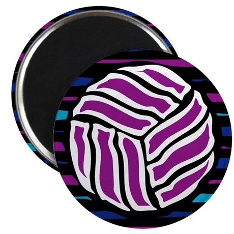 "VOLLEYBALL {18} : purple/blue 2.25"" Magnet (100 pa"