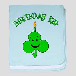 Birthday Kid with Happy Shamrock baby blanket