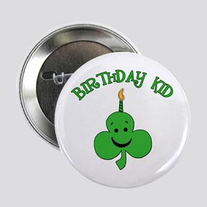 "Birthday Kid with Happy Shamrock 2.25"" Button"