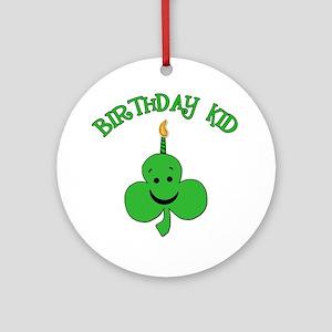 Birthday Kid with Happy Shamrock Ornament (Round)