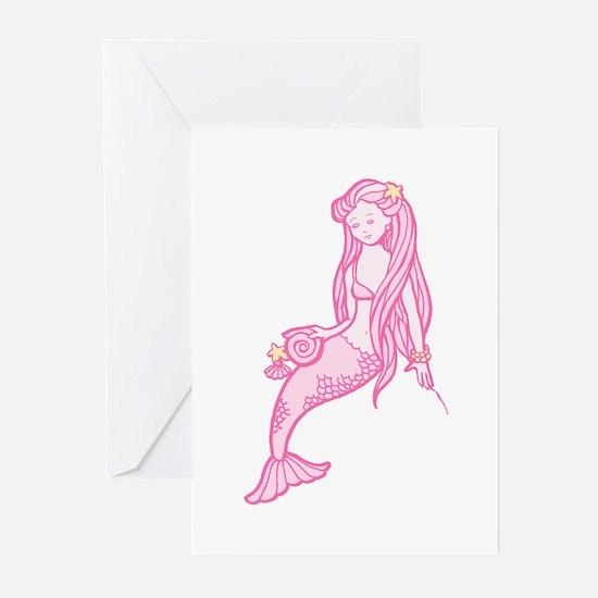 Pink Mermaid Greeting Cards (Pk of 10)