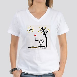 Woman with Heart Balloon Women's V-Neck T-Shirt
