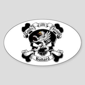 Ballard Family Crest Skull Sticker (Oval)
