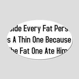 Inside Fat Person 22x14 Oval Wall Peel