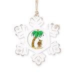 Desert Island Christmas Rustic Snowflake Ornament