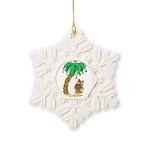 Desert Island Christmas Snowflake Ornament
