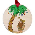 Desert Island Christmas Maple Round Ornament