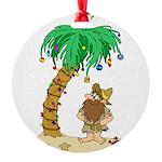 Desert Island Christmas Round Ornament