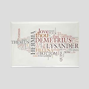 Midsummer Night's Wordle Rectangle Magnet