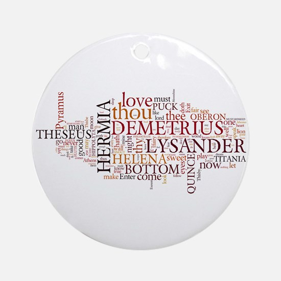 Midsummer Night's Wordle Ornament (Round)