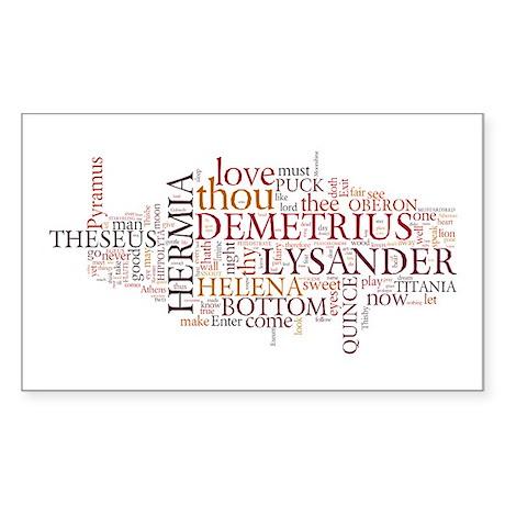 Midsummer Night's Wordle Sticker (Rectangle)