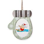 Waterski Santa Mitten Ornament