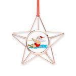 Waterski Santa Copper Star Ornament