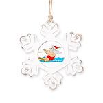 Waterski Santa Rustic Snowflake Ornament