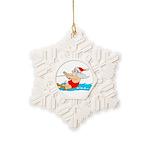 Waterski Santa Snowflake Ornament