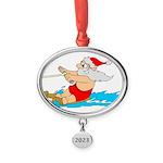Waterski Santa Oval Year Ornament