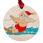 Waterski Santa Maple Round Ornament
