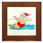 Waterski Santa Framed Tile