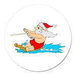 Waterski Santa Round Car Magnet