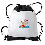 Waterski Santa Drawstring Bag
