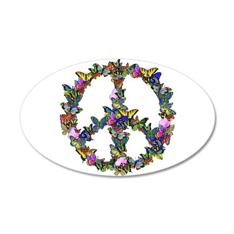 Butterflies Peace Sign 20x12 Oval Wall Decal