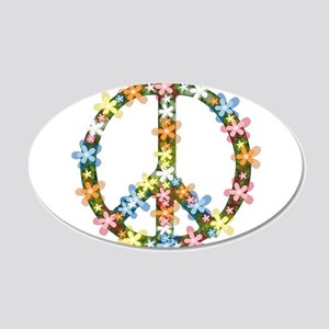 Peace Flowers 20x12 Oval Wall Decal