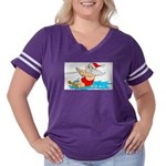 Waterski Santa Women's Plus Size Football T-Shirt