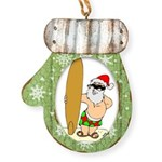 Surfing Santa Mitten Ornament