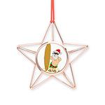 Surfing Santa Copper Star Ornament