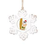 Surfing Santa Rustic Snowflake Ornament