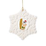 Surfing Santa Snowflake Ornament