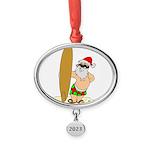 Surfing Santa Oval Year Ornament
