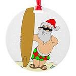 Surfing Santa Round Ornament