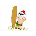 Surfing Santa 5x7 Flat Cards (Set of 10)