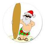 Surfing Santa Round Car Magnet