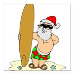 "Surfing Santa Square Car Magnet 3"" x 3"""