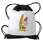 Surfing Santa Drawstring Bag