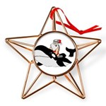 Santa's Whale Safari Copper Star Ornament