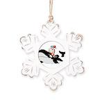 Santa's Whale Safari Rustic Snowflake Ornament