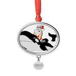 Santa's Whale Safari Oval Year Ornament