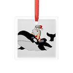 Santa's Whale Safari Square Glass Ornament