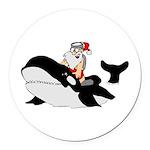 Santa's Whale Safari Round Car Magnet