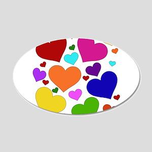 Rainbow Hearts 22x14 Oval Wall Peel