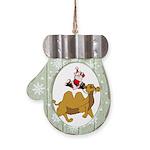 Camel Rodeo Santa Mitten Ornament