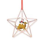 Camel Rodeo Santa Copper Star Ornament
